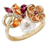 Золотое кольцо с бриллиантами, цитринами, родолитами и перламутром Осенний каприз