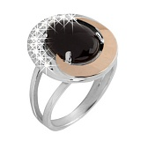 Серебряное кольцо с ониксом и золотой вставкой Ягуар