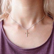 Крестик в красном золоте Внутренняя гармония с бриллиантом