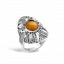Серебряное кольцо Карима с янтарем, фианитами и родием
