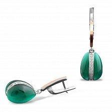 Серебряные серьги-подвески Хильдегарда с золотой накладкой, зеленым улекситом и фианитами