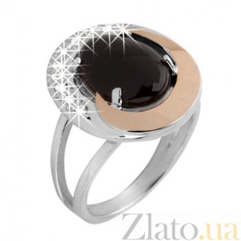 Серебряное кольцо с ониксом и золотой вставкой Ягуар BGS--016к