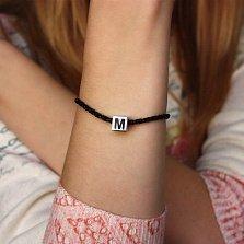 Серебряный шарм-куб Буква M с черной эмалью