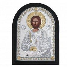 Икона на деревянной основе Спаситель с эмалью и позолотой, 21х17