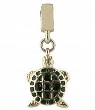 Серебряный шарм Черепашка с зеленой эмалью