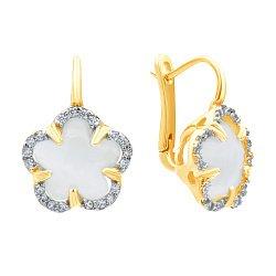 Золотые серьги в комбинированном цвете с белым улекситом и цирконием 000139520