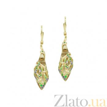 Золотые серьги с кварцем, сапфирами, бриллиантами и цаворитами Джулия 1С037-0093