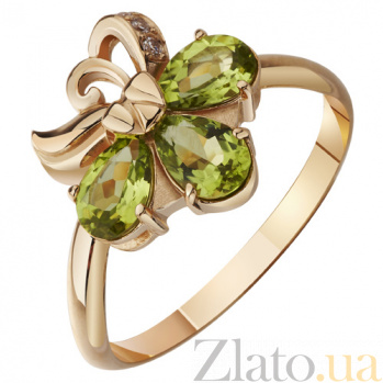 Золотое кольцо с хризолитом Алфея AUR--31708 07