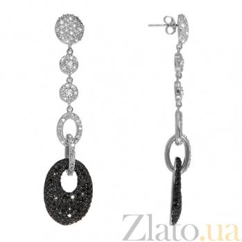 Серебрянные серьги с фианитами Королева Красоты 10030190