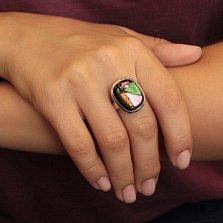 Серебряное кольцо Виллана с разомкнутой шинкой и имитацией опала