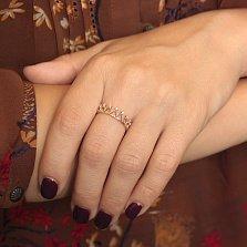 Золотое кольцо-корона Сердце королевы с ажурной шинкой и фианитами