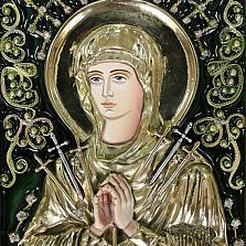 Икона Божия Матерь Семистрельная с эмалью и фианитами