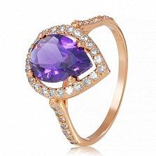 Золотое кольцо Виктория с аметистом и фианитами