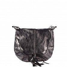 Кожаная сумка на каждый день Genuine Leather 1677 серого цвета с клапаном и регулируемым ремнем