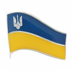 Серебряный значок Державний Прапор с эмалью