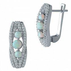 Серебряные серьги с опалами и фианитами 000128707