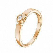 Кольцо в красном золоте Ожидание чуда с бриллиантом