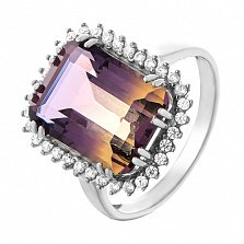 Серебряное кольцо Мианика с аметрином и фианитами