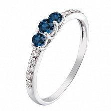 Серебряное кольцо Сирена с сапфировыми альпинитами и фианитами