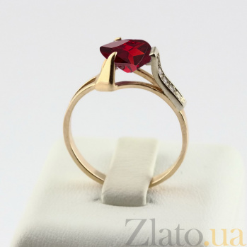 Золотое кольцо с гранатом и фианитами Ингебога VLN--112-643-3
