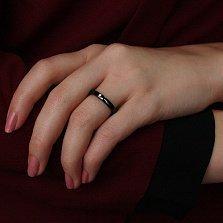 Кольцо в белом золоте Ирма с керамикой и бриллиантом