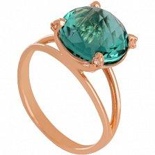 Золотое кольцо Джозефина с синтезированным аметистом и фианитами