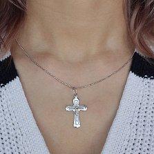 Серебряный родированный крестик Доброта с алмазной насечкой