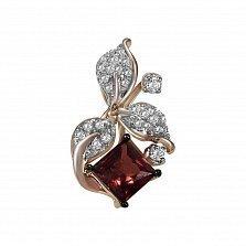 Золотой кулон Ширли в красном цвете с гранатом и бриллиантами