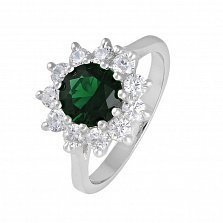 Серебряное кольцо с зеленым фианитом Мишель