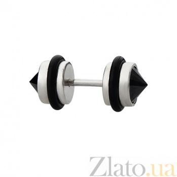 Серебряная серьга-пирсинг с чёрным цирконием и каучуком Джей 000030715