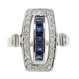 Серебряное кольцо с бриллиантами и сапфирами Сакварела