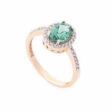 Золотое кольцо Федерика с зеленым кварцем и дорожкой из белых фианитов