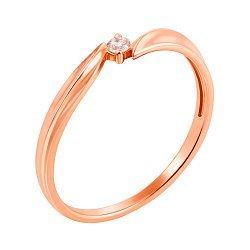 Кольцо в красном золоте с бриллиантом 000104205