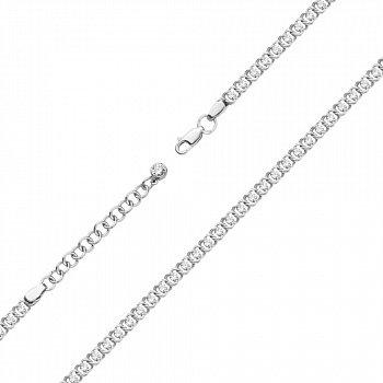 Серебряный браслет с фианитами фантазийного плетения. 4,5мм 000121333