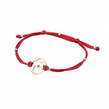 Шелковый браслет с золотыми вставками и рубином 000095579
