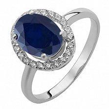 Серебряное кольцо Эйвис с синтезированным сапфиром и фианитами