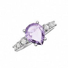 Серебряное кольцо Элиза с аметистом и фианитами
