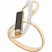 Золотое кольцо с агатом и фианитами Поворот судьбы