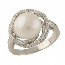 Серебряное кольцо Беттина с жемчугом и фианитами
