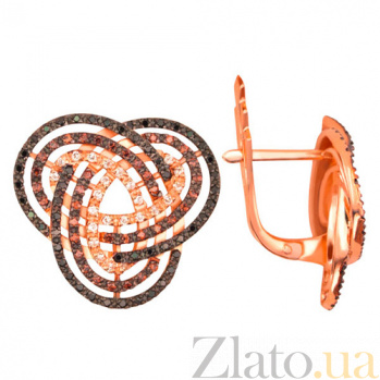 Серьги из красного золота с черными и белыми фианитами Фейерверк VLT--ТТ296-2