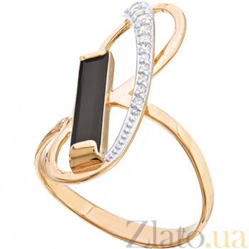Золотое кольцо с агатом и фианитами Поворот судьбы 000024520