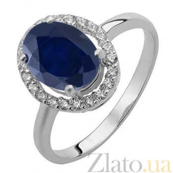 Серебряное кольцо Эйвис с синтезированным сапфиром и фианитами 000032462
