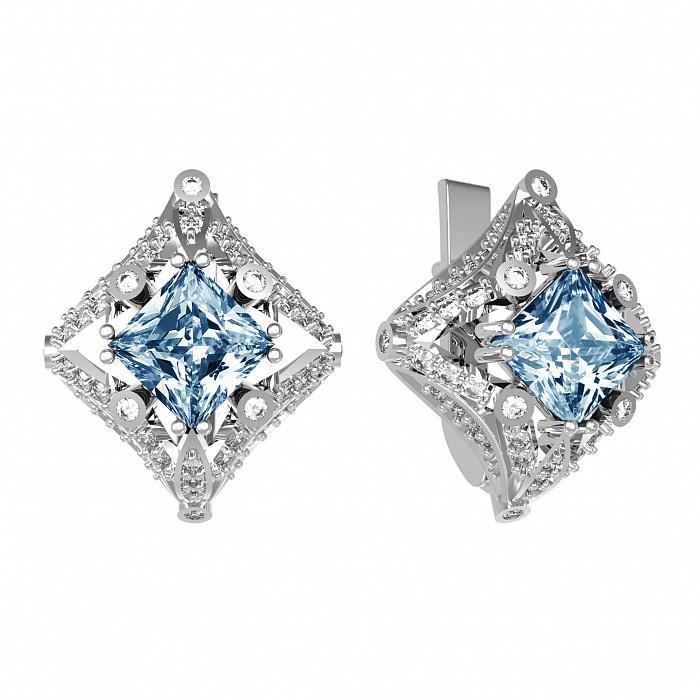 Серебряные серьги Азиза с лондон топазом и фианитами 000079728