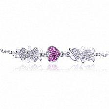Серебряный браслет Влюбленные с розовыми и белыми фианитами