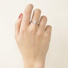 Серебряное кольцо Сердце в подарок с цирконием