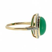 Золотое кольцо в красном цвете с бриллиантами и хризопразом Млада