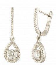 Серебряные серьги-подвески Аврора с фианитами