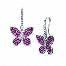 Серебряные серьги-подвески Летний вечер с розовыми корундами и фианитами