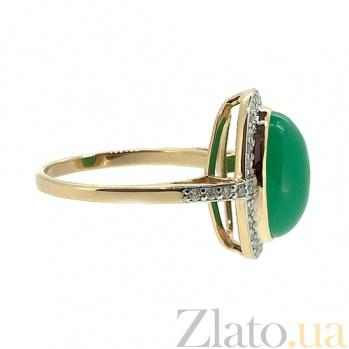 Золотое кольцо в красном цвете с бриллиантами и хризопразом Млада 000021530