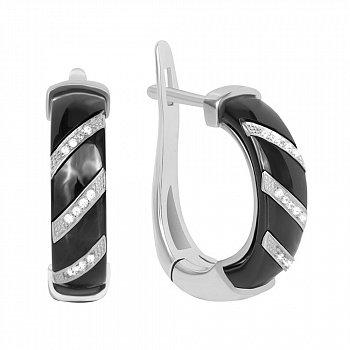 Серебряные серьги с черной керамикой и фианитами  000039830